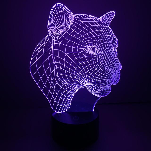 Leopard Creative 3D Acrílico LED Desk Mesa de Luz Da Lâmpada 7 mudança de cor Arte Decoração USB LED Desk Luz Da Noite das Crianças IY803347