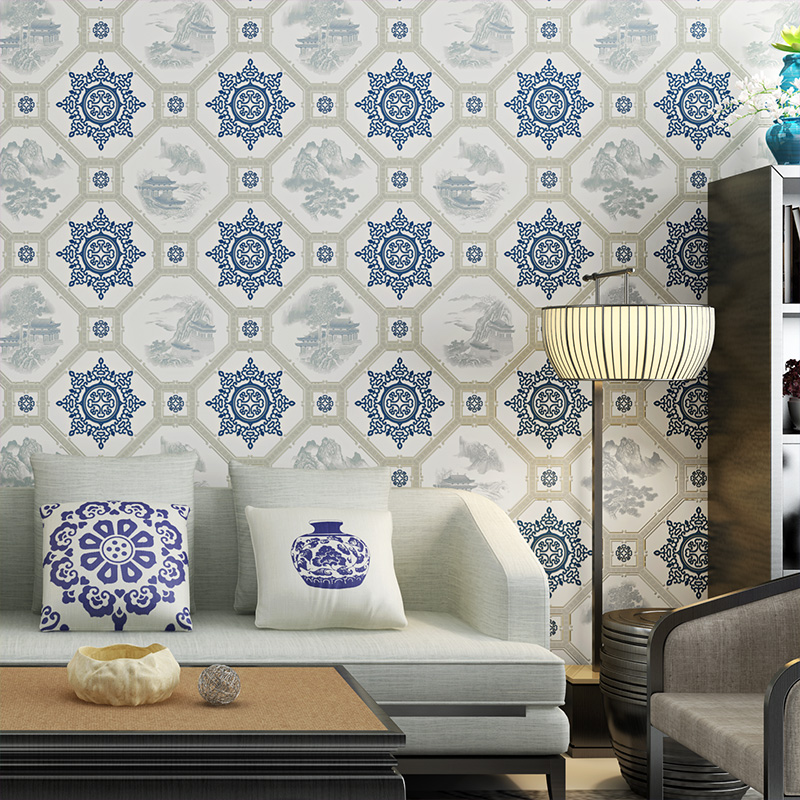 Retro Blue Chinese Style Wallpaper Blue Modern Geometric Wallpaper Wall Paper Roll For Walls mediterranean style sky blue wallpaper modern pure color wall paper roll for bed room livingroom