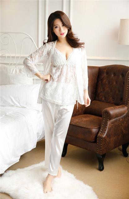 Princesa high-grade doce das mulheres sleepwear Rendas Pijama de seda Emulação Feminino Roupa Em Casa 3 pcs terno casaco Sexy top calça 35 #