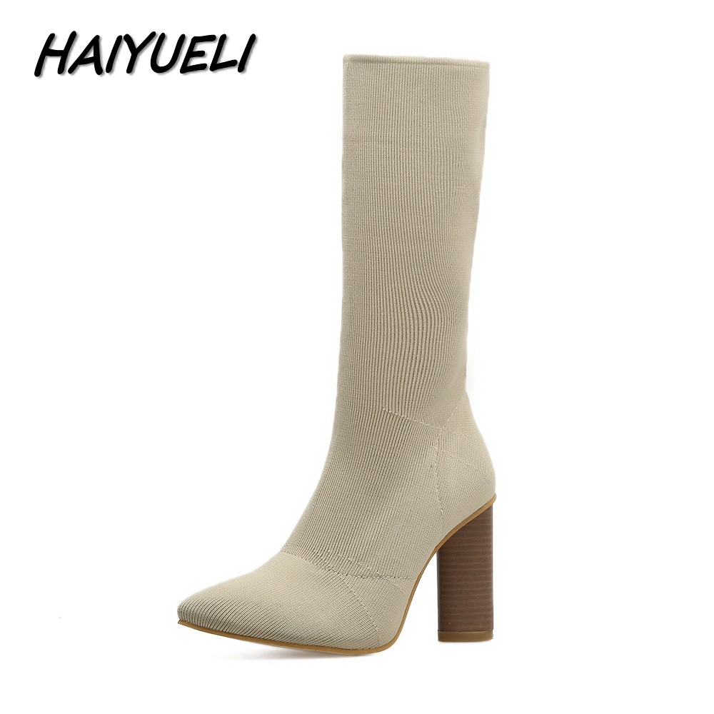 HAIYUELI Autumn Winter Women Knee-High Boots Shoes Woman Fashion Winter Shoes Star Pointed Toe Thick Heel Stretch Knitting Boots