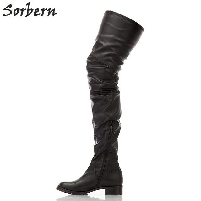 Sorbern Black Sqaure Fetish Low Heel Thigh High Boots For Women Retro Warm  Shoes Round Toe Motorcycle Ladies Shoes 2018 f936b697b