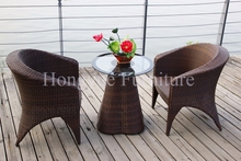 Outdoor rattan material one table two chairs furniture set