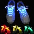1 Par Led Luminoso Cordones de Los Zapatos 2016 Color Glow Light up Secuencias de Zapato de Cordones de Los Zapatos Multicolores Zapatilla Lacet Pour Cestas Sólido