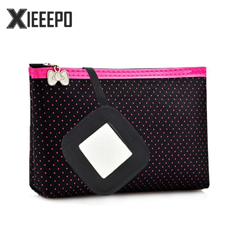 Casual Travel Cosmetic Bag Women Dot Zipper Makeup Bag Make Up Case Necessaries Organizer Storage Pouch Toiletry Bag