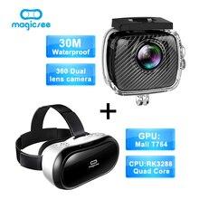 Magicsee P3 Спорт Действий камеры 360 Камеры с Двумя Объективами водонепроницаемый чехол + Magicsee M1 все в одном RK3288 Quad Core VR 3D очки