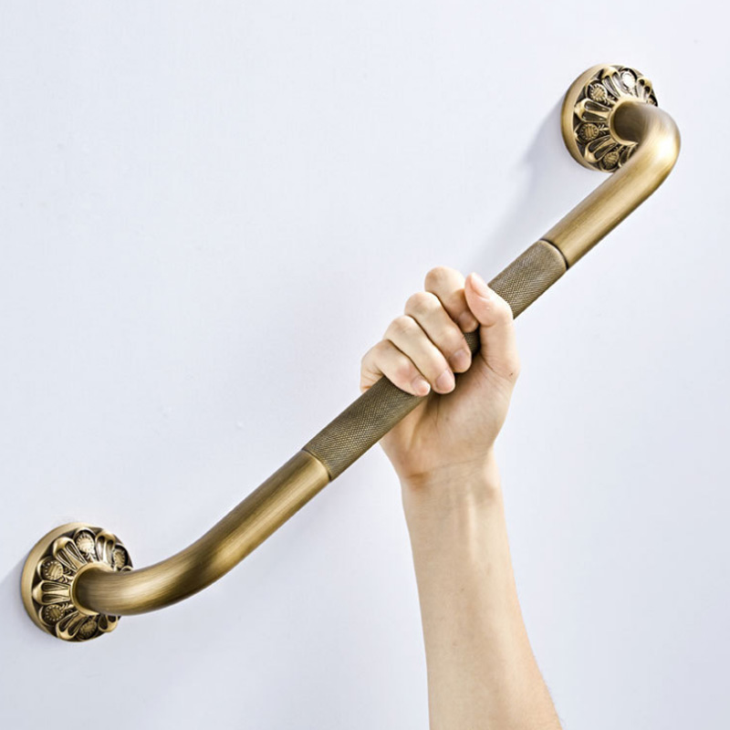 Antique Grab Bar Wall Mount Brass Vintage Bathroom Tub Toilet Handrail Strong Shower Safety Support Handle Bathroom Towel Rack