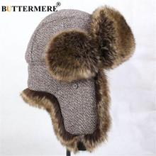 6a65ee4a BUTTERMERE Wool Bomber Hats Men Women Winter Hat Male Female Russian  Ushanka Hat Ear Flaps Windproof Ski Outdoor Trapper Hats