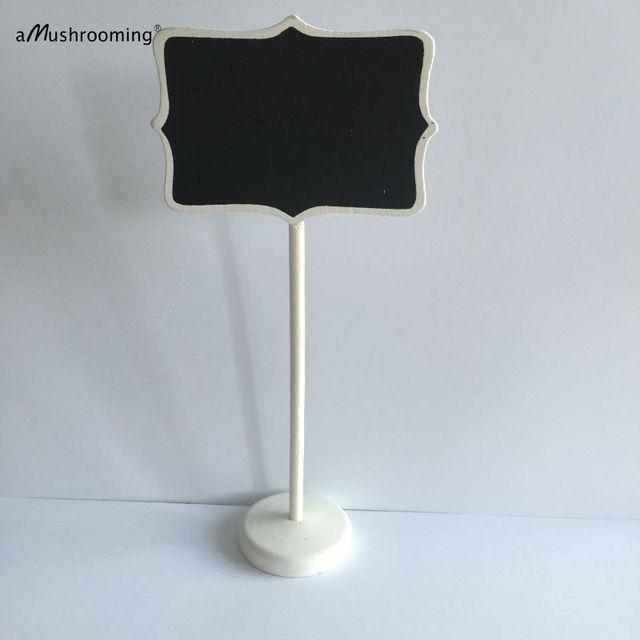 50pcs Wood White Framed Scroll Mini Blackboard Chalkboard Stand ...