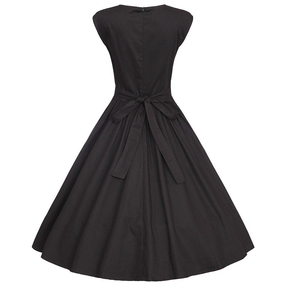 Ballkleider Mujer 60 Baumwolle Vestidos Vintage Abend Up Audrey Sommer 50S Retro Kleid SchwarzWei Rockabilly Kleid Schwarz Hepburn Frauen Pin pzVSUM