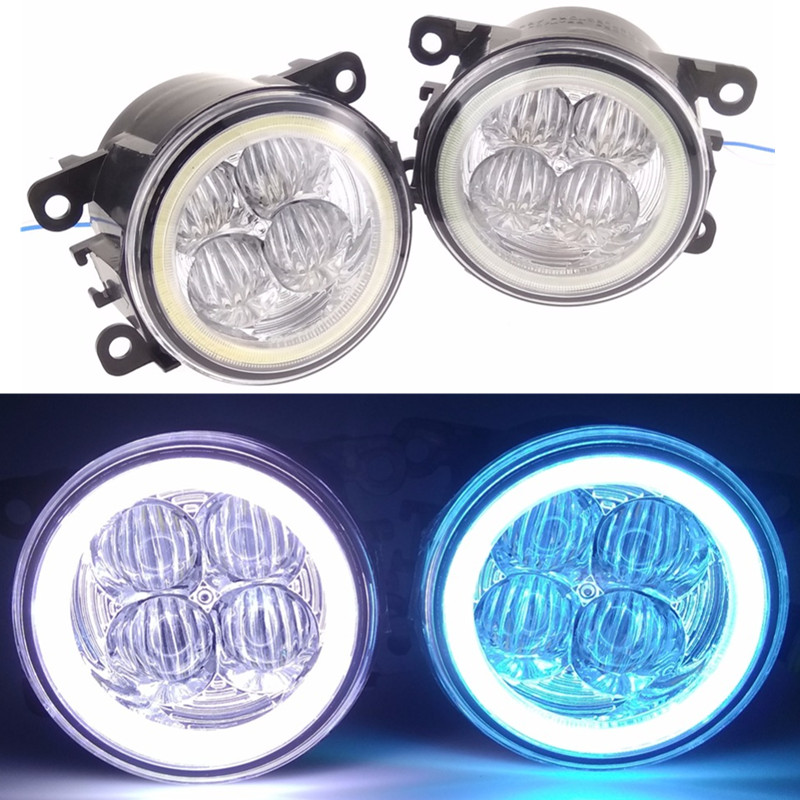 For Peugeot 207 307 407 607 3008 SW CC VAN 2000-2013 Car styling LED fog lights Angel eyes fog lamps 1set front fog lights for peugeot 207 307 407 607 3008 sw auto right left lamp car styling h11 halogen light 12v 55w bulb assembly