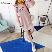 Weinaky Casual Women Knitted Long Oversized Sweaters And Pullovers Ladies Autumn And Winter 2018 Sweaters Korean Fashion Pink