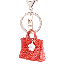 Charm Novelty trinket Crystal handbag car Key Chains Ring Rhinestone bolsos Keychains key holder women bag Jewelry Gift R002