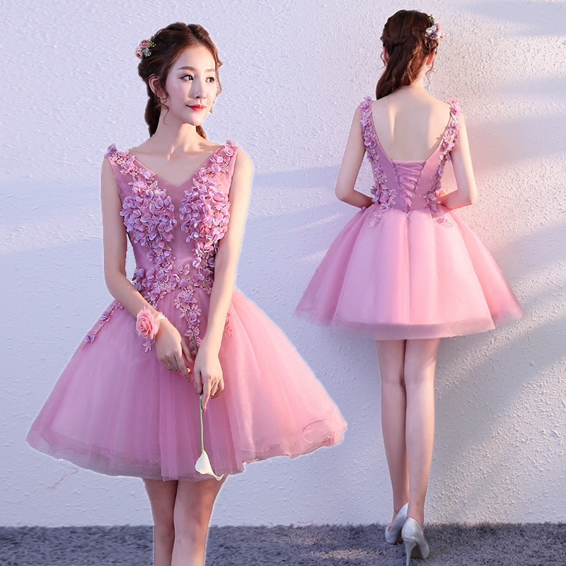 New pink short v neck sweat short lady girl women princess bridesmaid banquet  party party dress gown 0306a2a0c300
