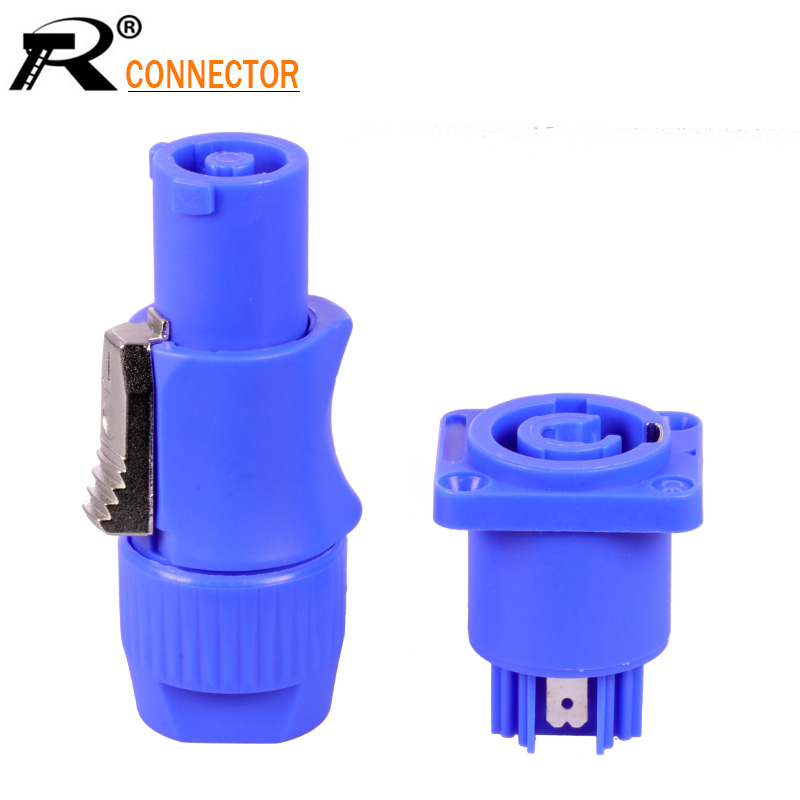 1pc Male & Female In Pair PowerCON Type A NAC3FCA+NAC3MPA-1 Chassis Plug Panel Adapter 3 Pin Powercon Speaker Connector