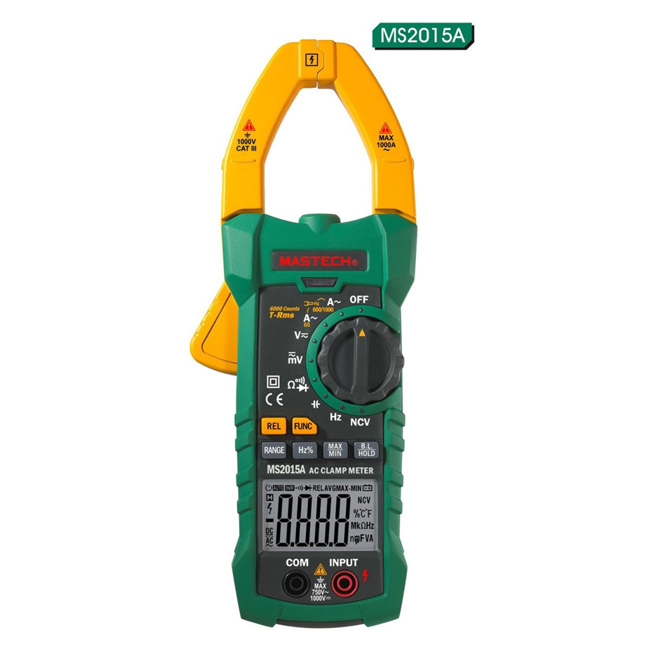 MASTECH MS2015A AutoRange Digital AC 1000A Current Clamp Meter True RMS Multimeter Frequency Capacitance Tester NCV cnim hot m6013 autorange digital capacitor capacitance circuit tester meter multimeter yellow