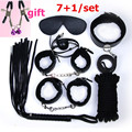 High quality sexy erotic toys 7+1 sex fetish bondage set,fetish sex toys for couples,nipple clamps gag whip flogger hand cuffs