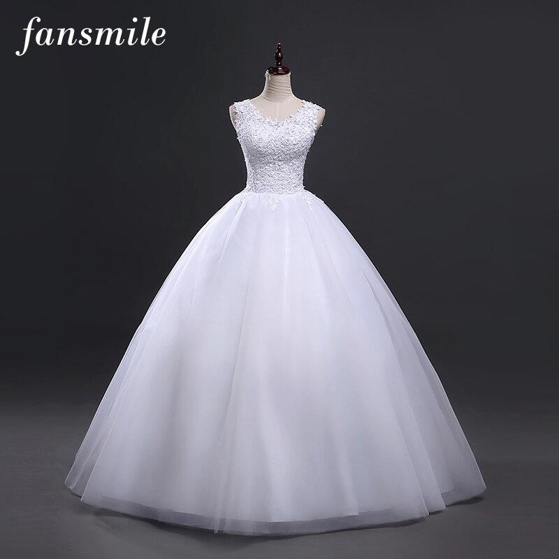 Fansmile Korean Style Vintage Lace Wedding Dresses 2019 Customized Plus Size Robe de Mariage Princess Bridal
