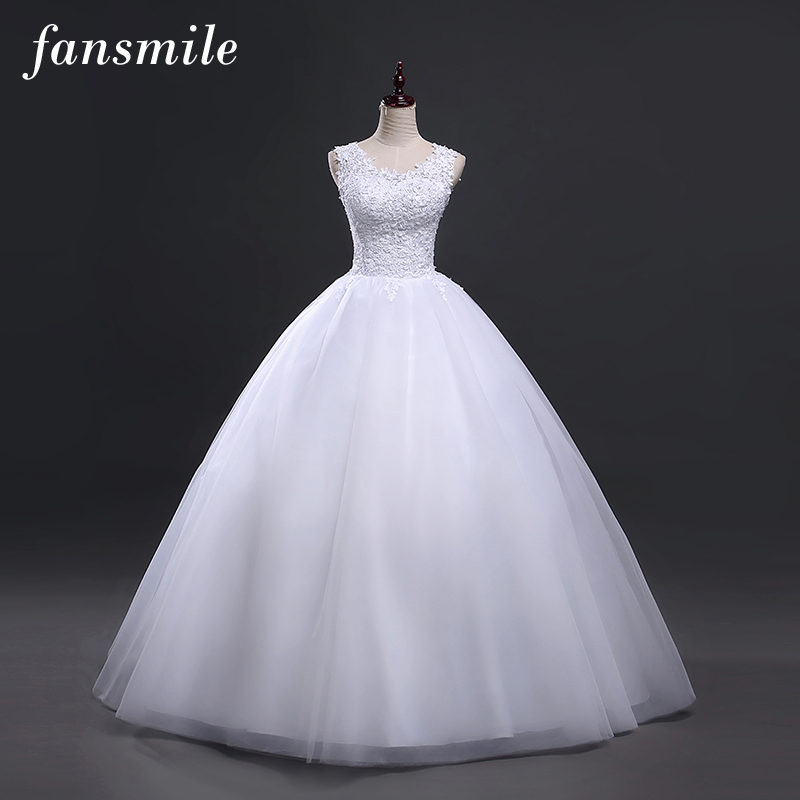 Fansmile Korean Style Vintage Lace Wedding Dresses 2019 Customized Plus Size Robe De Mariage Princess Bridal Ball Gowns FSM-056F