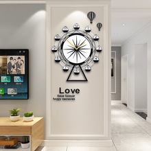 MEISD New Creative Ferris Wheel Swingable Wall Clock Modern Design Silent Quartz Hanging Clocks Living Room With Stickers