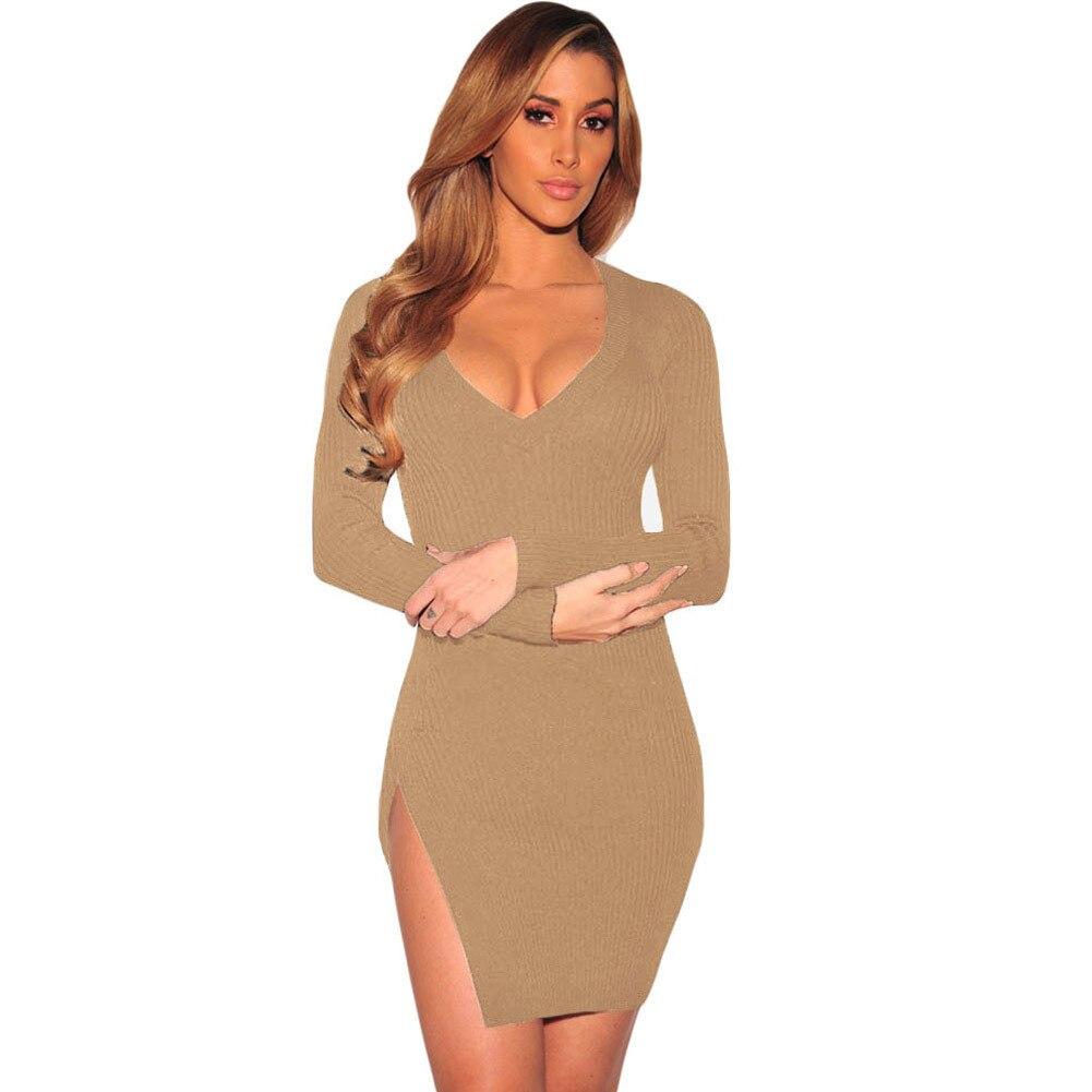Stricken Mini Pullover Kleid Herbst Winter Packung Hip Kleider ...