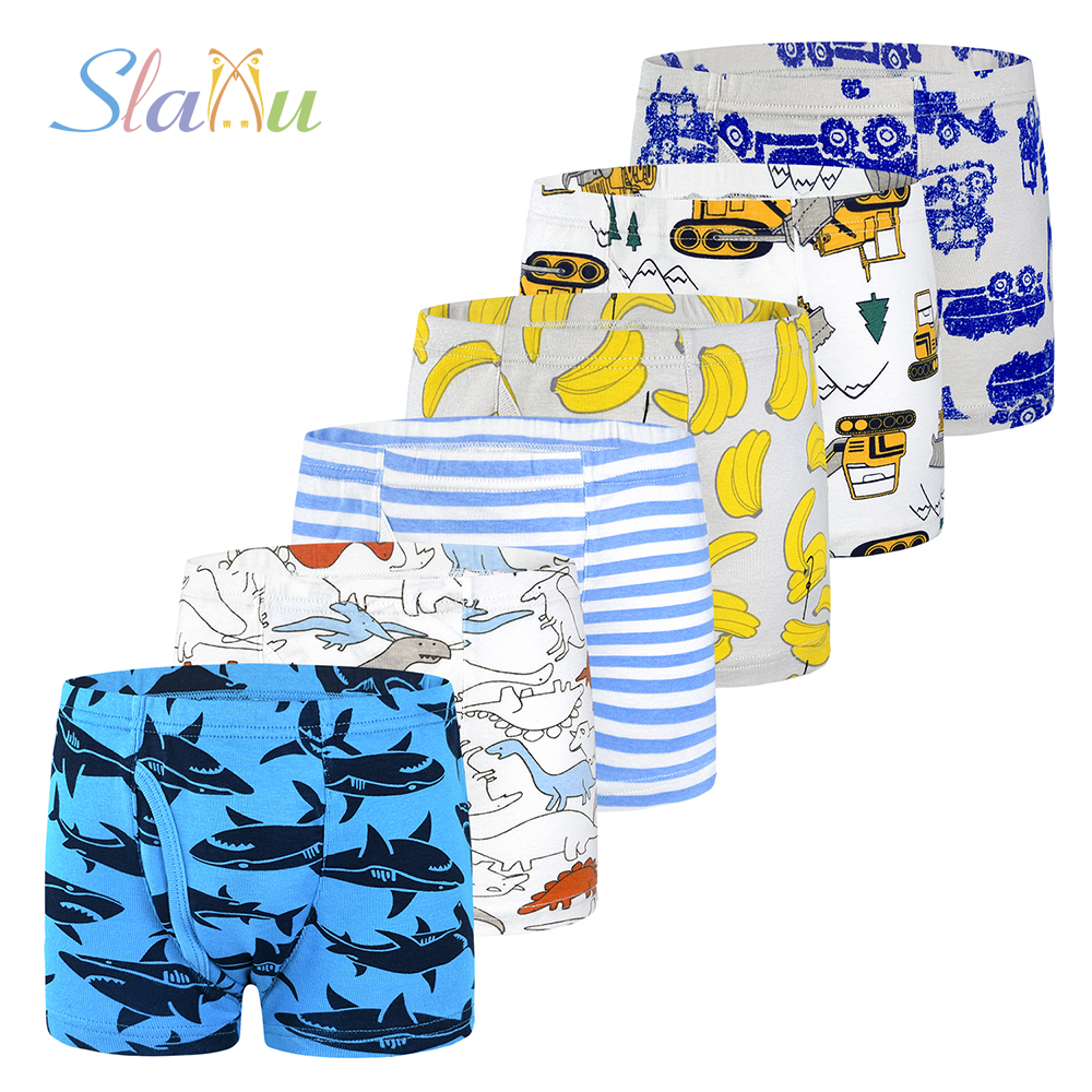 6Pcs/lot Baby Children Boys Underwear For Kids Boxer Briefs Soft Organic Boy Panties Teenager Underpants For 2-10years