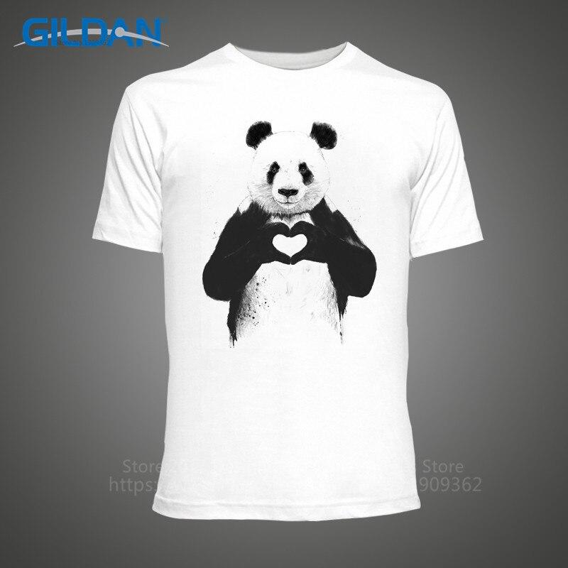 Cheap Tee Shirts  Christmas Cute Love Heart Panda MenS Crew Neck Short Sleeve Printed