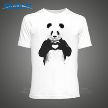 Cheap Tee Shirts  Christmas Cute Love Heart Panda MenS Crew Neck Short Sleeve Printed