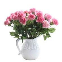 12 unids/lote Latex Real Touch Flores Color de Rosa Ramo De La Boda Home Party Diseño Flores Decoración flor color de Rosa Artificial Flores Fuentes Del Partido