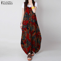 ZANZEA Women 2017 Summer Vintage Print Dress O Neck Casaul Loose Sleeveless Ankle Length Long Maxi Dresses Vestidos Plus Size