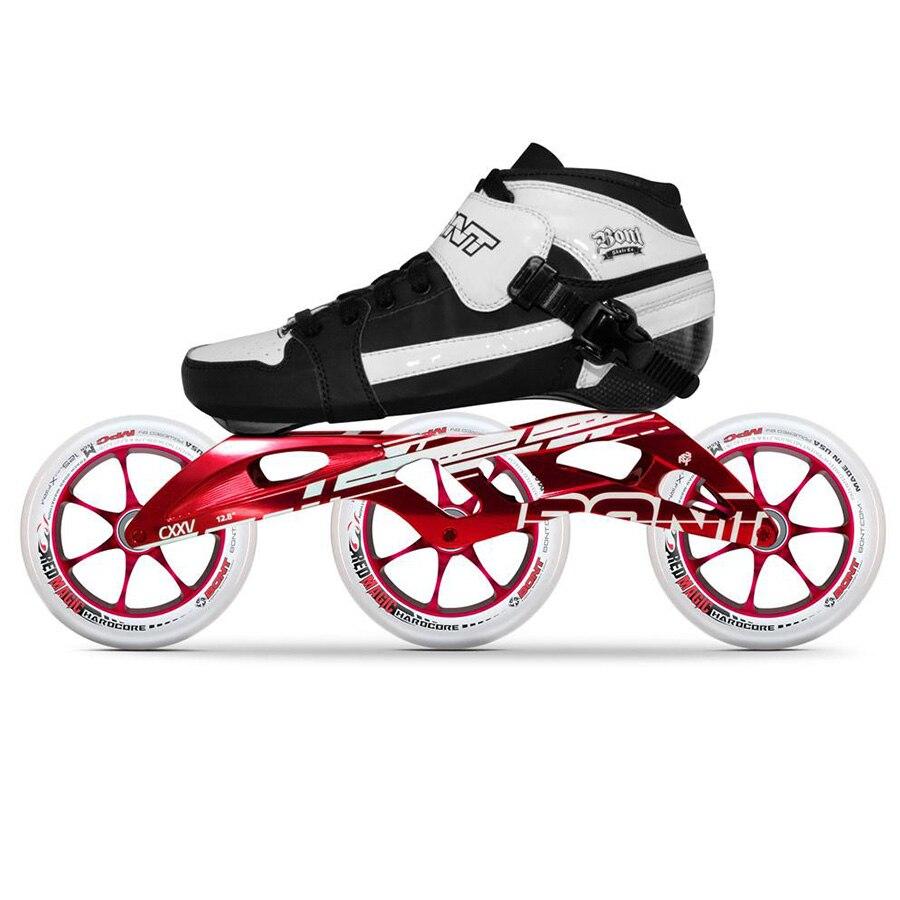 100% Original Bont poursuite 2PT 195 MM 2PF CXXV vitesse patins à roues alignées thermomoulable en Fiber de carbone botte 3*125mm rouge roues magiques Patines