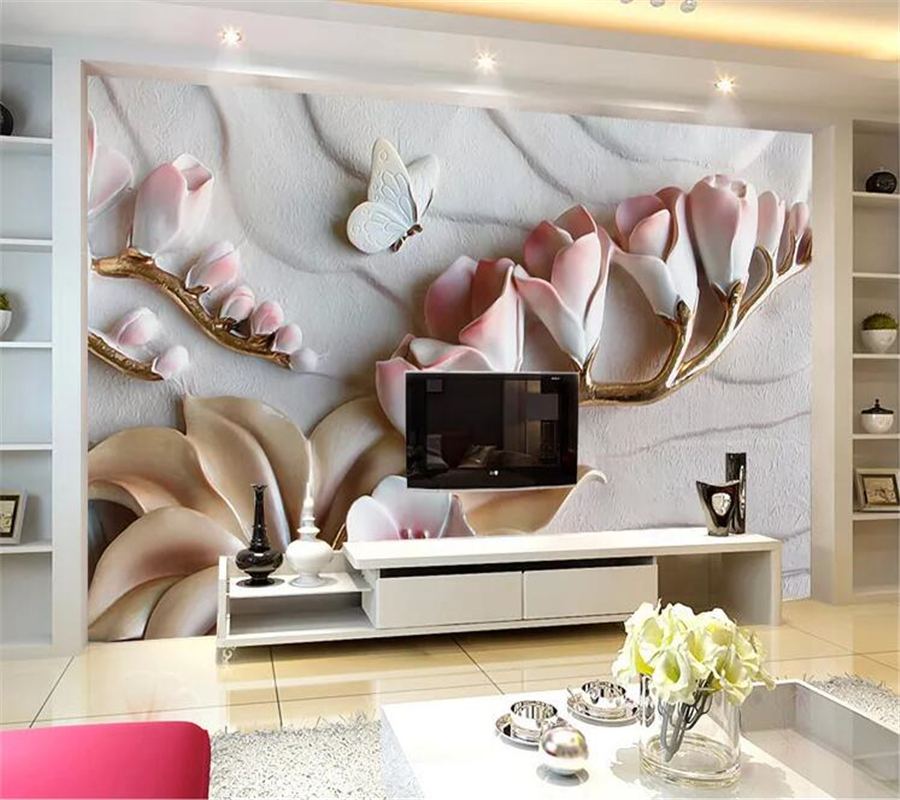 beibehang  Custom wallpaper papel de parede 3D Phalaenopsis embossed background wall living room decoration painting relief