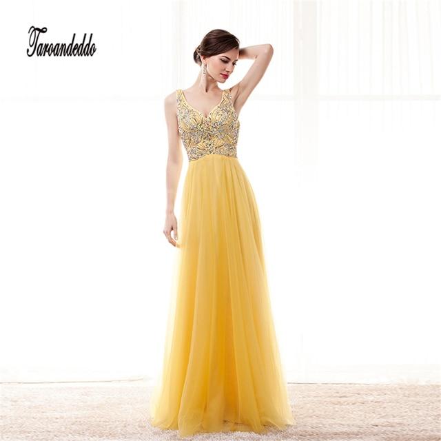 f7afe5d386d3 V-neck Colorful Beading Bodice A-line Yellow Chiffon Prom Dress Elegant  Long Evening Dress vestidos de fiesta cortos 2017
