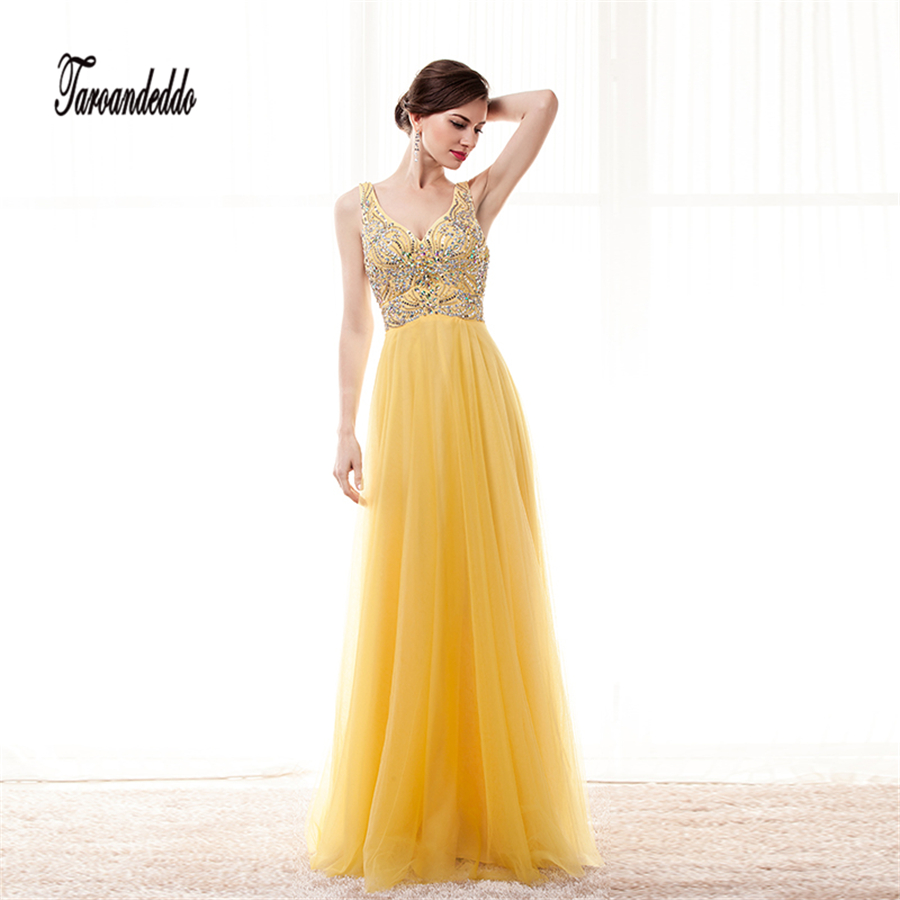 V-neck Colorful Beading Bodice A-line Yellow Chiffon Prom Dress Elegant Long Evening Dress vestidos de fiesta cortos 2017
