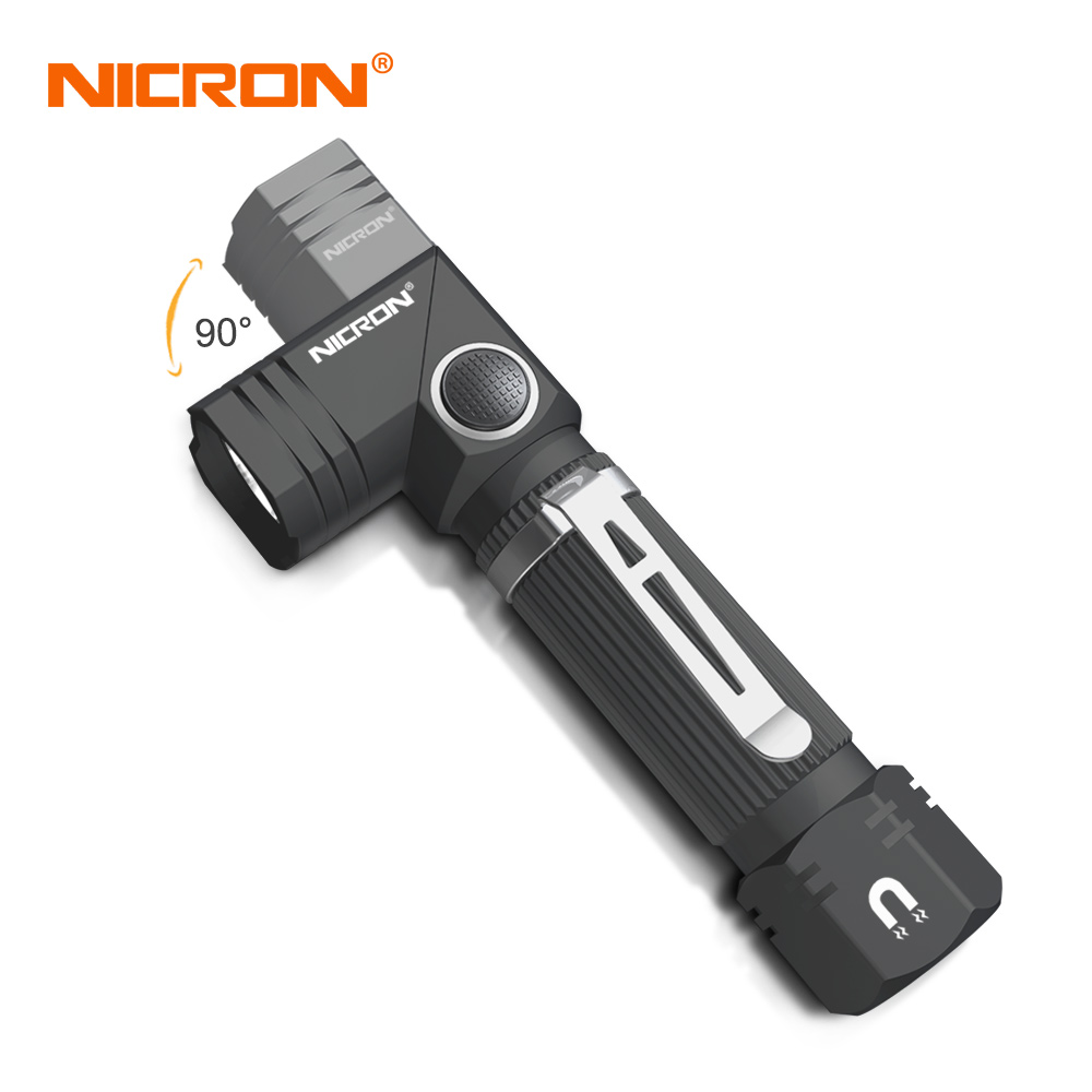 NICRON Dual Fuel Corner Led Flashlight Handfree Waterproof Magnetic Tactical Flashlight Mini LED Torch Light For Outdoor Camp N7