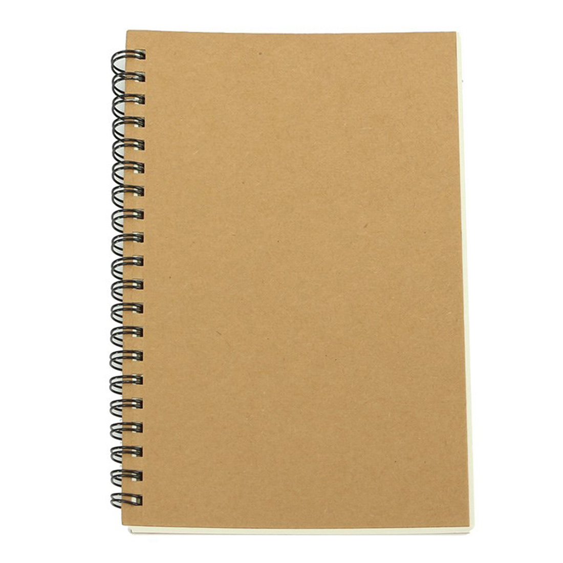 BLEL Retro Kraft Coil Sketch Sketchbooks Blank Notebook Creative School Stationery (Kraft paper and white)