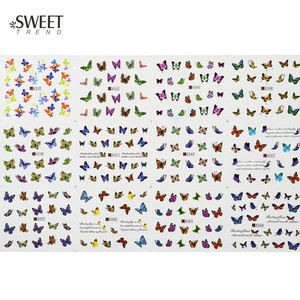 Image 2 - 12 Designs in 1 Sweet Butterfly Nail Wraps Nail Art Stickers Polish Watermark Nail Decals Decoration Manicure Tools LAA337 348