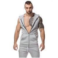2018 Men Stylish Hoodies Casual Sleeveless Jacket Autumn Men Vest Male Slim Fit Hooded Zipper Mens