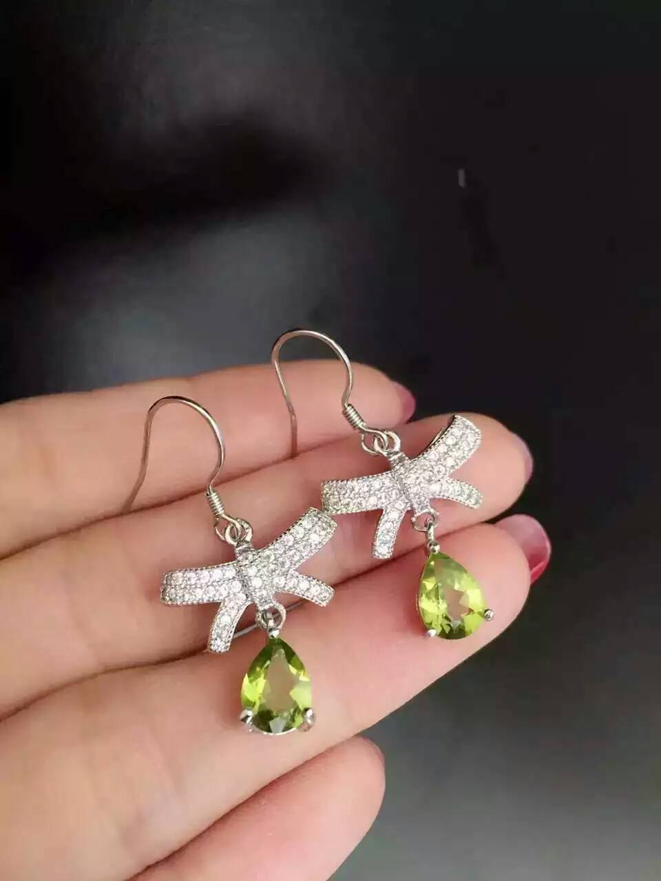 natural olivine drop earrings 925 silver Natural peridot gemstone earring women fashion Butterfly shape drop earrings for party tatkraft кольца fioretto 12 шт
