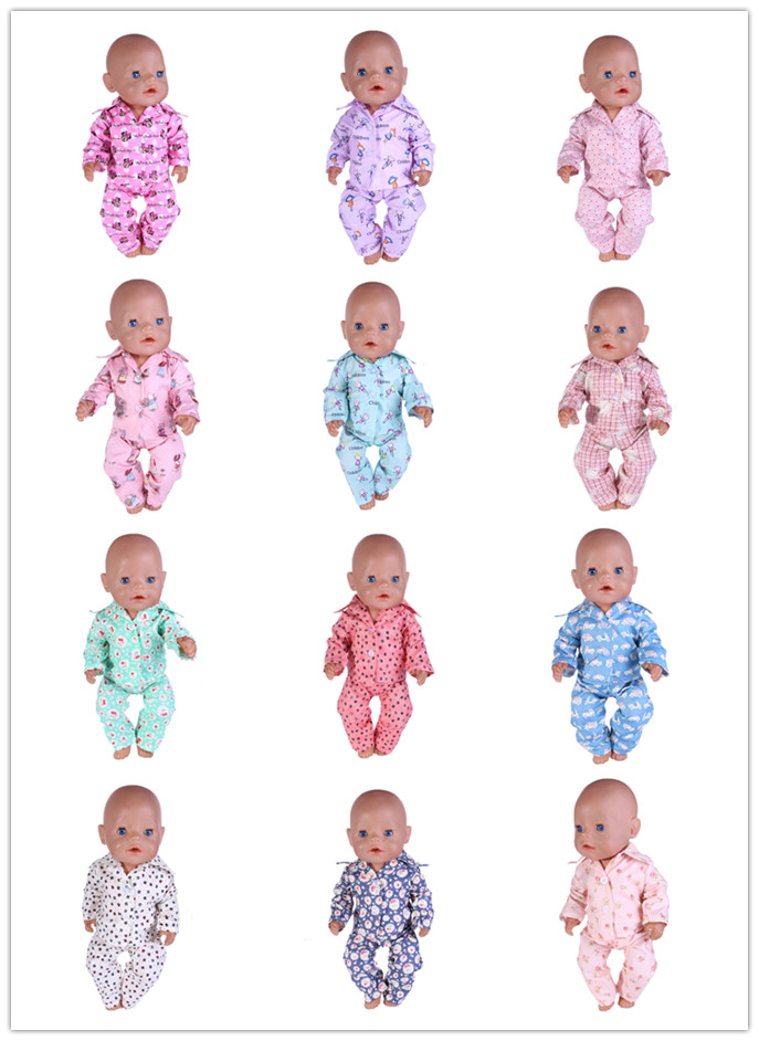 12 Colors Popular Lovely Pajamas&Sleepwear Fit 18 Inch American&43 CM Baby Doll Clothes Accessories,Girl's Toys,Generation,Gift