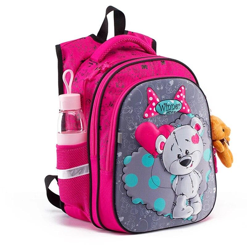 Новинка, 3D мультяшная школьная сумка для девочек и мальчиков, ортопедический рюкзак с рисунком кота и медведя, детские школьные сумки, Студенческая сумка, класс 1-4