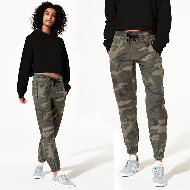 Women's High Quality Camouflage Harlan Pants Spring Autumn Cotton Casual Pants Women Army Green  Pants Female Ladies Trousers