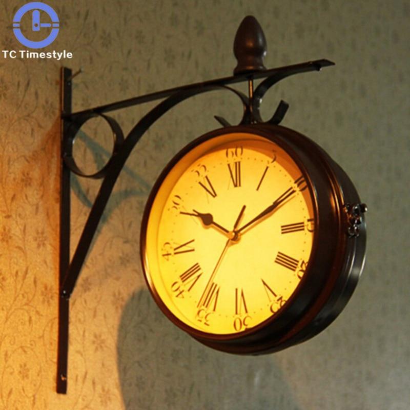 ヨーロッパのレトロな創造的な家の壁時計ファッション牧歌的な両面装飾リビングルームサイレント針クォーツ  グループ上の ホーム&ガーデン からの 壁時計 の中 1