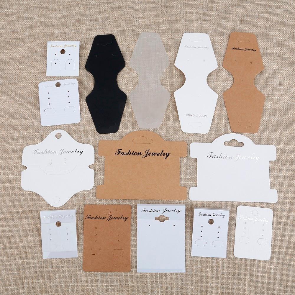 100 Pcs Hohe Qualität Papier Pvc Karte Weiß/kraft/matt Karten Für Ohrring Halskette Armband Haar Band Schmuck Display Verpackung Moderater Preis
