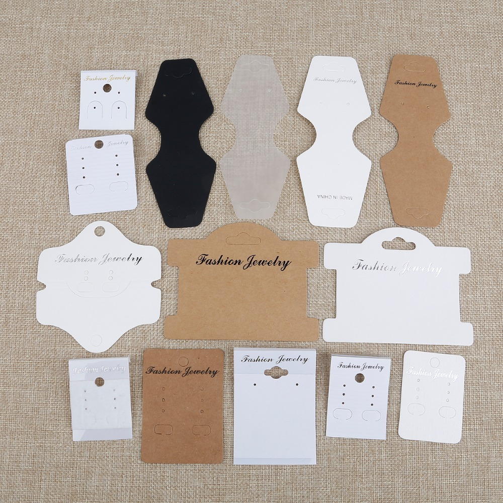 100pcs High Quality Paper PVC Card White/Kraft/Frosted Cards For Earring Necklace Bracelet Hair Band Jewelry Display Packaging