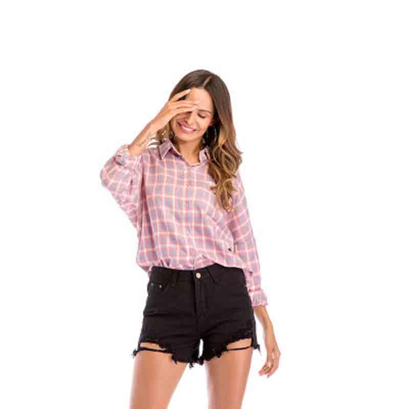 Women 39 s shirt 2019 European and American women 39 s checked shirt women 39 s Lapel sleeve shirt loose size women 39 s wear sexy in Blouses amp Shirts from Women 39 s Clothing
