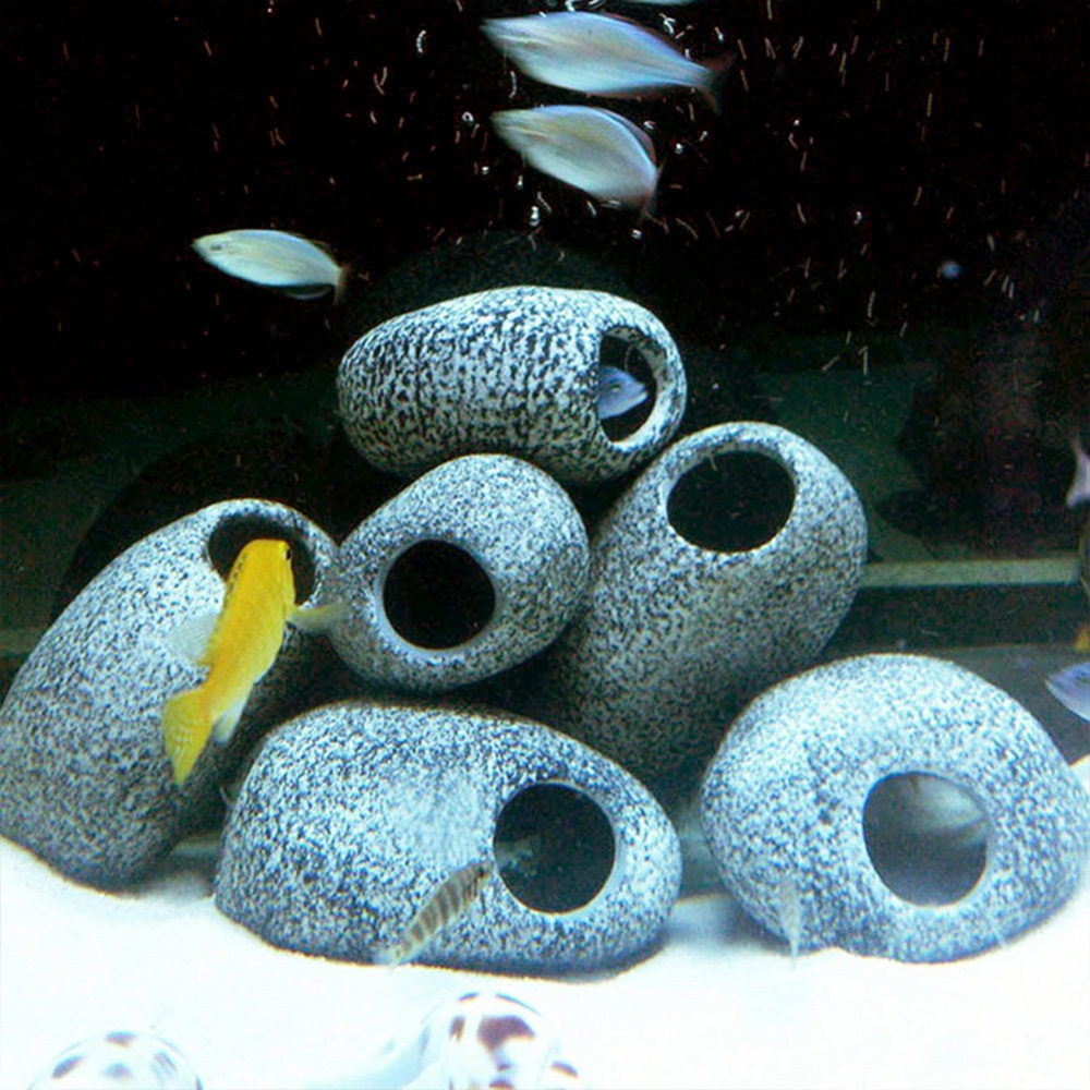 1pc Aquarium Cichlid Stone Ceramic Rock Cave Aquarium Fish Tank Pond Shrimp Breeding Ornament Decor Accessory Decorative Marbles