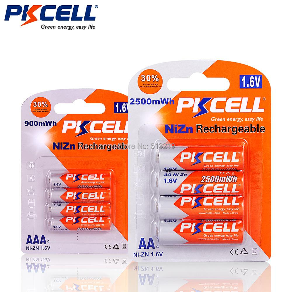 Image 2 - PKCELL 1Pack/4Pcs 1.6V NI ZN AA Rechargeable Battery in 2500mwh + 1Pack/4Pcs AAA Batteries in 900mwh For Toys Microphone Radioaa rechargeable batteryrechargeable batterybattery a - AliExpress