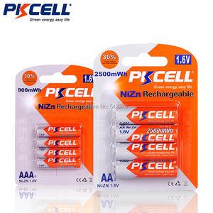 Image 2 - Pkcell 1パック/4個1.6v NI ZN aa 2500mwh充電式バッテリー + 1パック/4個aaa電池900mwhおもちゃマイクラジオ