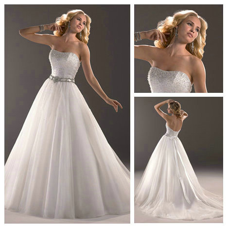 White Organza Silver Beading Corset Princess Bridal Dress Front Long Train Wedding 2017
