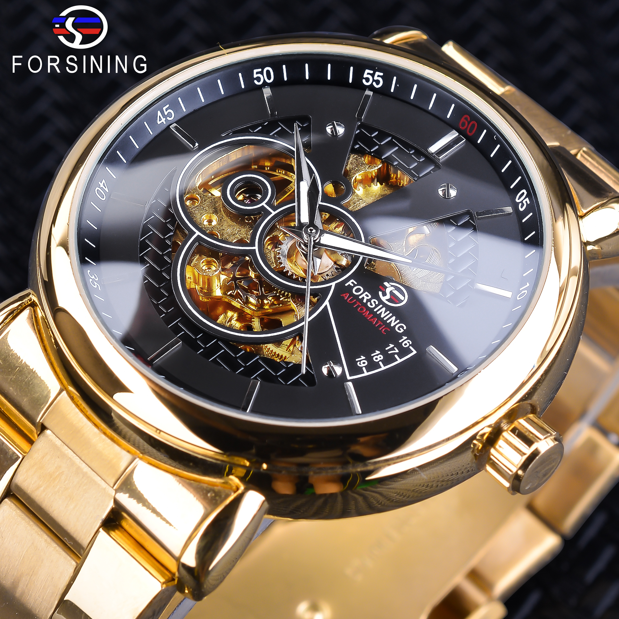 Forsining New Black Golden Openwork Clock Luminous Hands Design Gold Stainless Steel Men's Automatic Watches Top Brand Luxury
